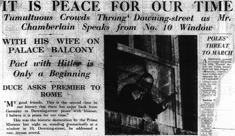IT IS PEACE FOR OUR TIME / Tumultuous Crowds Throng Downing-street as Mr. Chamberlain Speaks from No. 10 Window / WITH HIS WIFE ON PALACE BALCONY / Pact with Hitler is Only a Beginning / DUCE ASKS PREMIER TO ROME / Daily Mail, 1 October 1938, p. 11