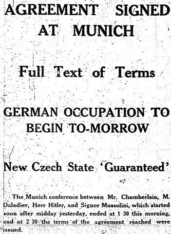 AGREEMENT SIGNED AT MUNICH / Full Text of Terms / GERMAN OCCUPATION TO BEGIN TO-MORROW / New Czech State 'Guaranteed' / Manchester Guardian,  30 September 1938, p. 11