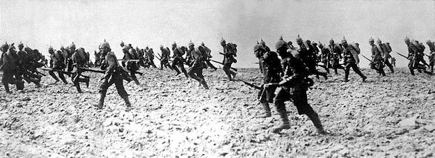 German infantry on the battlefield, August 7, 1914
