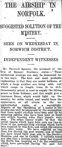 THE AIRSHIP IN NORFOLK. SUGGESTED SOLUTION OF THE MYSTERY / Norfolk News, 22 May 1909, p. 13