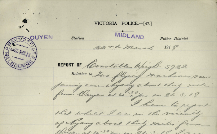 report, J. Wright, 22 March 1918
