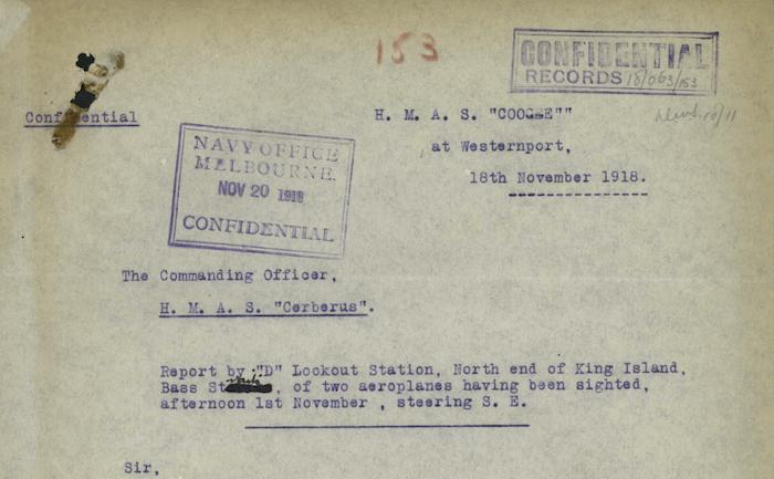 George D. Warren, 18 November 1918